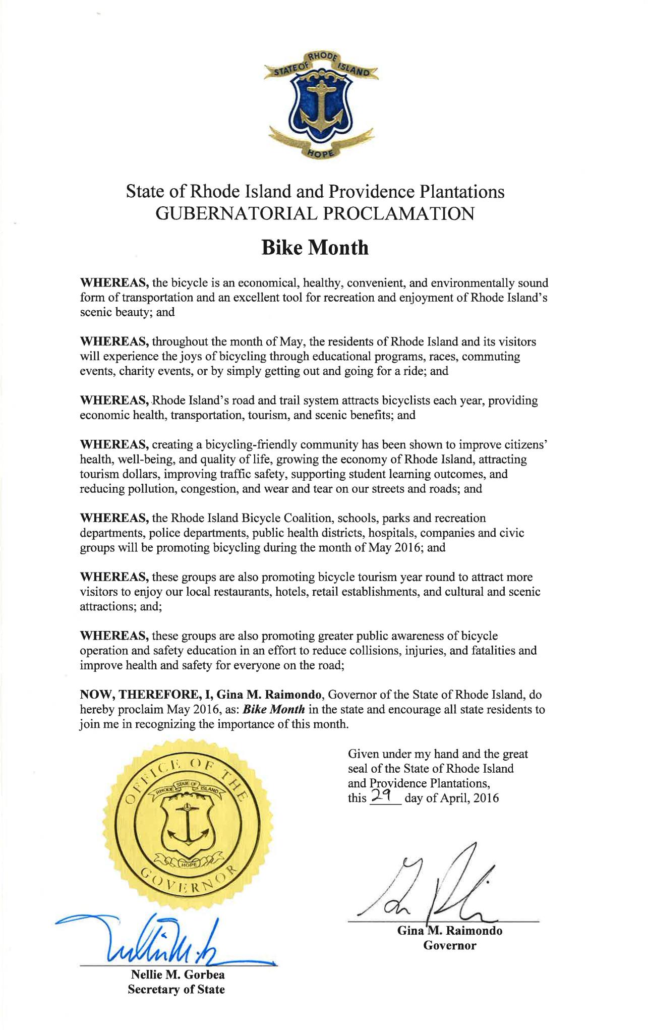 Governor Raimondo proclamation 2016