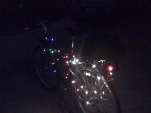 Bike with holiday lights