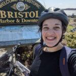 Alana with her bike in Bristol RI