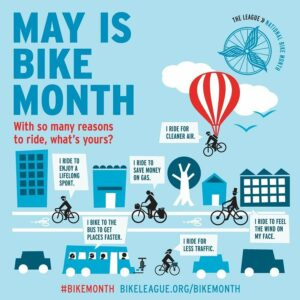 May is Bike Month poster, illustration and text