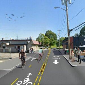 Mock up design of First Street Bike lane pilot project